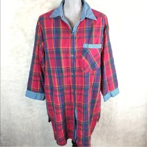 Vintage Button Down Sleep Shirt Night Gown Plaid